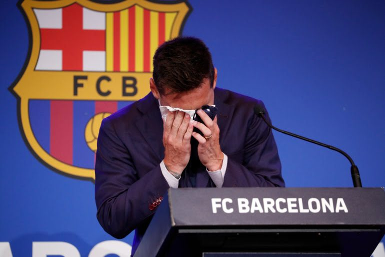 Messi in tears at farewell Barcelona press conference